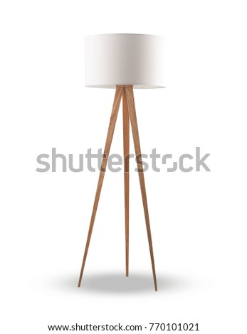 white lamp shade with wooden stand