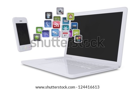White laptop and smartphone communicate. Isolated render on a white background