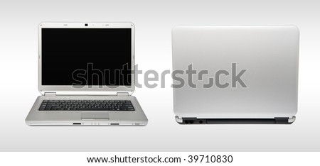 White laptop. Back and front views - stock photo