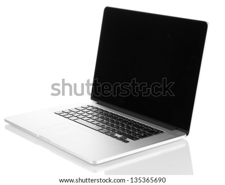 White laptop isolated on white
