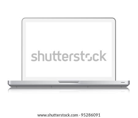 White laptop isolated on white,screen clipping paths included