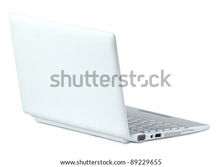 White laptop. Rear view. Isolated on white background