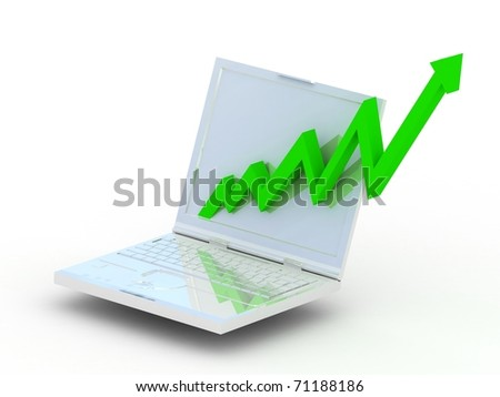 White laptop with business green graph
