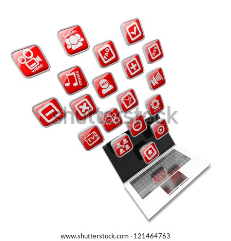 White laptop with red application icons isolated on white background High resolution 3d render