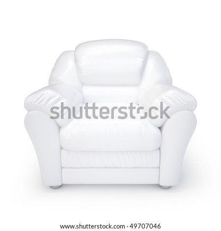 White leather armchair isolated on a white background