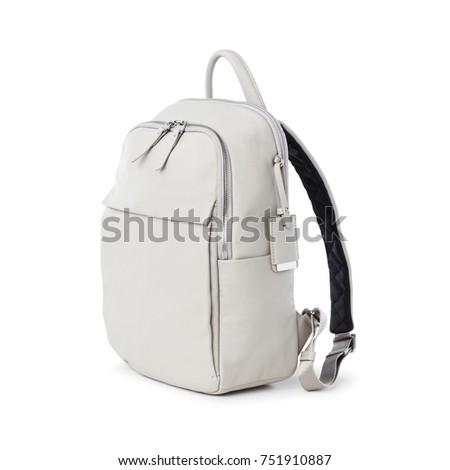 White Leather Backpack isolated on White Background. Side View of Leather Daypack. Travel Pocket Backsack for Women