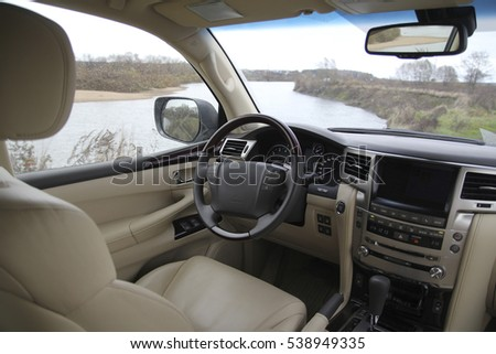 White leather car interior, control panel, steering wheel #538949335