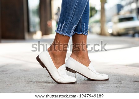 White leather loafers shoes women's fashion Stock fotó ©