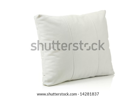 White leather pillow isolated against white background
