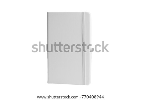White Leather PU Agenda Diary Notebook with pen holder isolated on white background. In stationery, diary or appointment book is small book containing a main diary section with space for each day