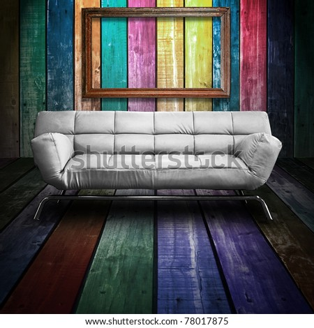 White leather sofa in Colorful Wood Room