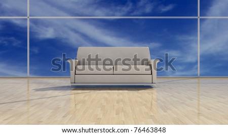 White leather sofa on shining floor