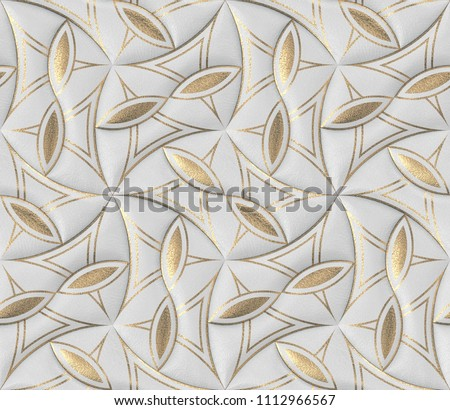 White leather tiles with gold decor classic 3d wallpaper. High quality seamless realistic texture.