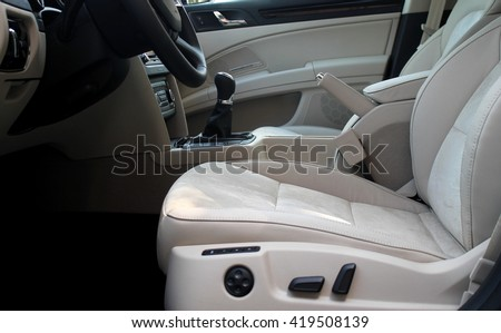 White leather upholstery on the seats with lateral support in premium class car  #419508139