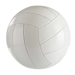 White leather volleyball isolated on a white background