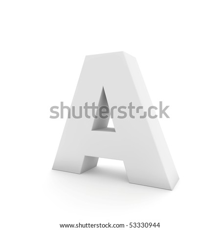 white letter A isolated on white