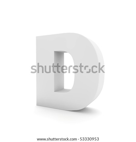 white letter D isolated on white