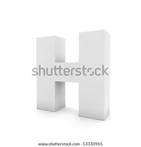 white letter H isolated on white