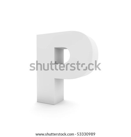 white letter P isolated on white