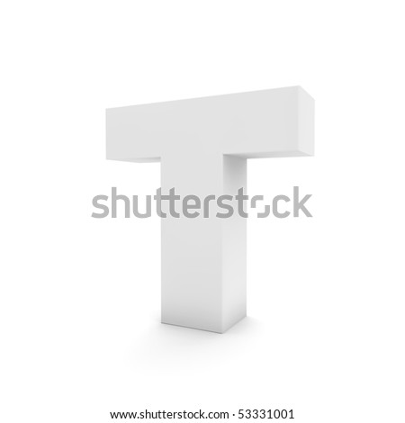 white letter T isolated on white