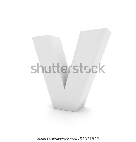 white letter V isolated on white