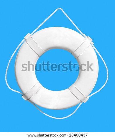 White Life Buoy isolated over blue background. Clipping path.