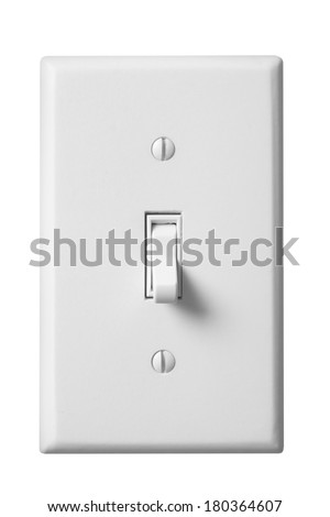 White light switch and faceplate on white background Foto d'archivio ©
