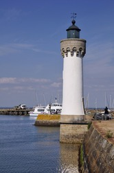 White lighthouse of Haliguen port at Quiberon in the Morbihan department in Brittany in north-western France
