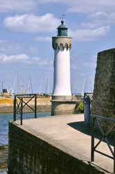 White lighthouse of Haliguen port at Quiberon in the Morbihan department in Brittany region in north-western France