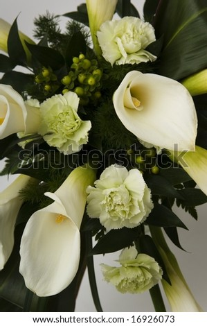 stock photo White Lilly and carnation bridal bouquet