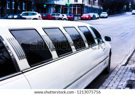 white limousine in the city