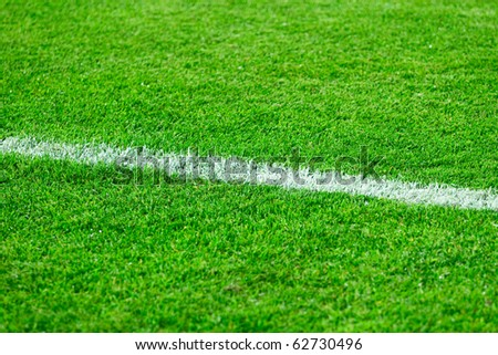 stock photo : White line on a football field grass