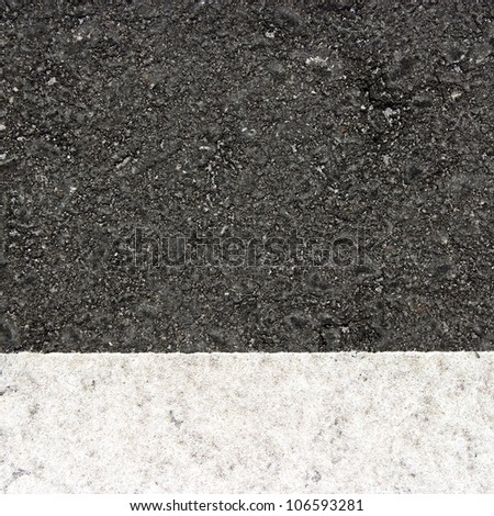 White line over new black asphalt texture.