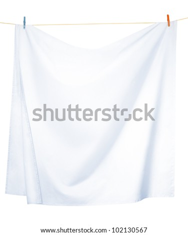 White linen sheets drying on a rope, isolated on a white background, with clipping paths