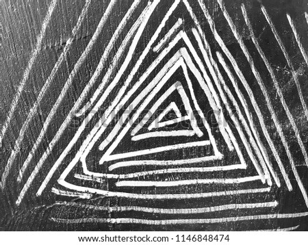 White lines doodle triangles inside triangles on blackboard. #1146848474