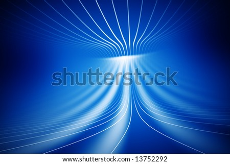 white lines on abstract blue computer generated 3d background