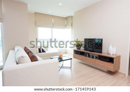 white living-room in condominium.