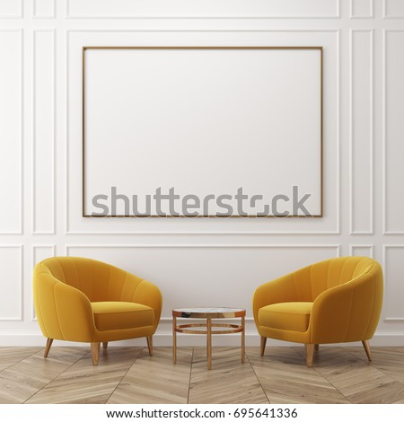 White living room interior with dark gray walls, two yellow armchairs, a coffee table and a framed poster. 3d rendering mock up