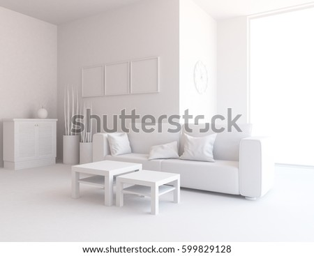 white living room interior with sofa and white landscape in window ...