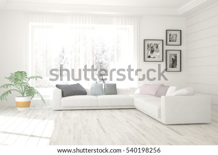 white living room interior with ...