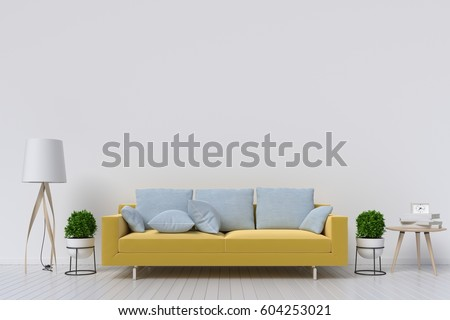 White living room interior with Yellow fabric sofa ,lamp and plants on empty white wall background.3d rendering