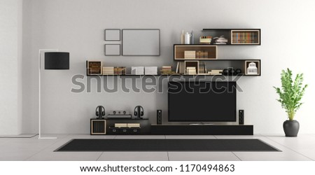 White living room with bookcase and tv - 3d rendering