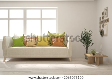 White living room with sofa and colorful pollows. Scandinavian interior design. 3D illustration