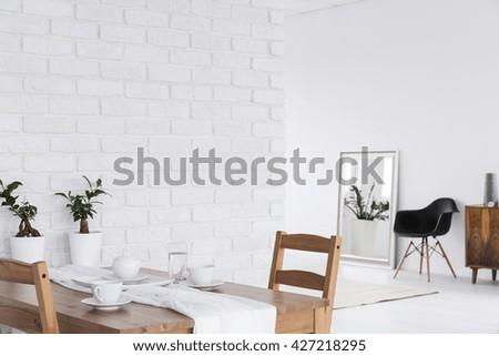 White loft design arrangement and minimalist furniture