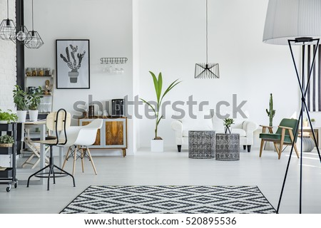 White loft interior in scandinavian style with pattern carpet - Shutterstock ID 520895536