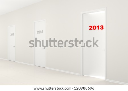 White long corridor with doors 2014, 2015 and the slightly opened door 2013. New Year's illustration.
