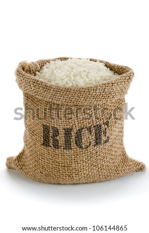 White long rice in small burlap sack