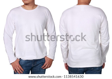 White long sleeved t-shirt mock up, front and back view, isolated. Male model wear plain white shirt mockup. Long sleeve shirt design template. Blank tees for print #1138541630