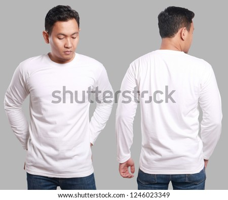 White long sleeved t-shirt mock up, front and back view, isolated. Male model wear plain white shirt mockup. Long sleeve shirt design template. Blank tees for print