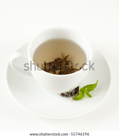 White Loose Leaf Tea in Cup with Mint